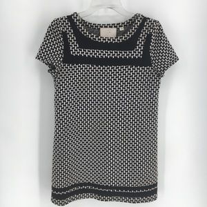 Anthropologie Postmark B&W Basketweave Tunic-Sz XS